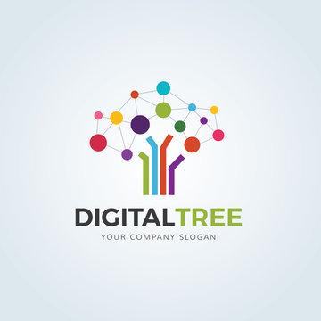 Digital Tree, Brain logo vector logo template.