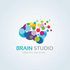 Brain studio logo.brain logo. idea logo. creative logo.vector logo template