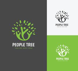 People tree logo. family logo. green logo.eco logo.vector logo template.