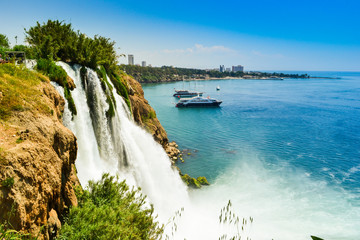 Waterfall in Antalya city Turkey, Mediterrain sea