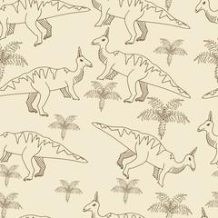 Dinosaur seamless retro vector illustration