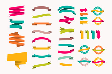 a set of new and original of ribbons of paper, template for your ad