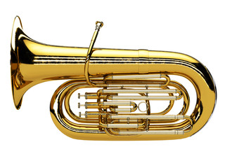 Aged tuba isolated on white background