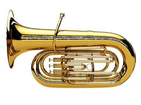 Aged tuba isolated on white background