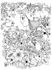 Vector illustration zentangl girl with freckles in flowers with an apple on his head. Child forest hedgehog on a leaf. Doodle drawing. Coloring book anti stress for adults. Black and white.