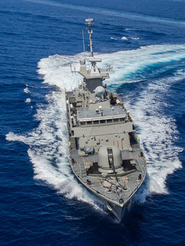 Military ship,aerial view