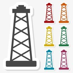 Multicolored paper stickers - Oil rig icon