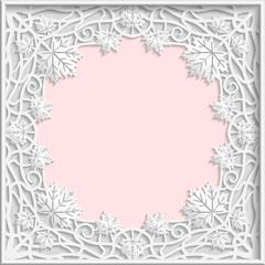 3D Vector bas-relief frame, maple leaves frame, branches frame,   vintage frame,  festive frame, white frame, template greetings