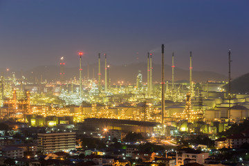 Aerial view oil refinery light at night