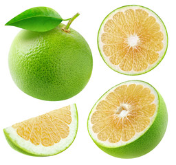 Isolated white grapefruits collection