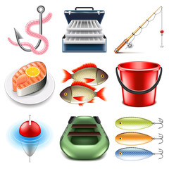 Fishing icons vector set