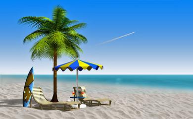 Sonnenliege mit Palme und Sonnenschirm am weißen Strand