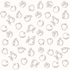 Pattern vector silhouettes of apples