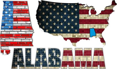 USA state of Alabama on a brick wall - Illustration, Alabama Flag painted on brick wall, Font with the United States flag,  Alabama map on a brick wall