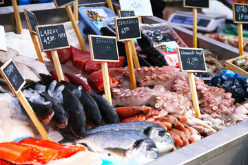 Seafood market with name and price plates in Polish language