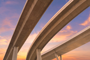 Motorway, Expressway, Freeway the infrastructure for transportation in modern city, urban view