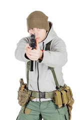 rebel or private military contractor holding black gun. war, army concept. isolated on white background.