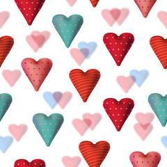 Seamless texture with textile hearts. Valentine card design.