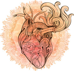Image of heart in steampunk style. Watercolor background with fl