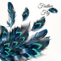 Fashion vector background with blue feathers