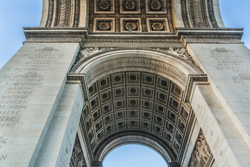 Arc de Triomphe de l'Etoile in Paris. Fragments of columns.