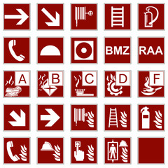 Brandschutzzeichen Brandklassen DIN EN ISO 7010 / DIN 4844-2