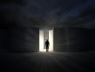 Man entering a mysterious maze