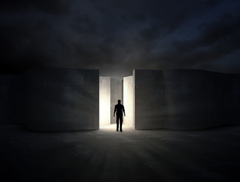 Man entering a mysterious maze