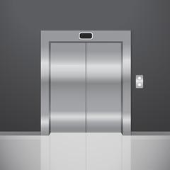 Closed metal elevator. Realistic vector illustration