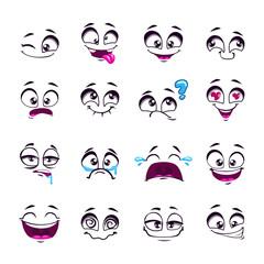 Set of funny cartoon vector comic faces