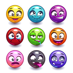 Funny colorful round faces set