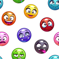 Funny cartoon comic round faces pattern