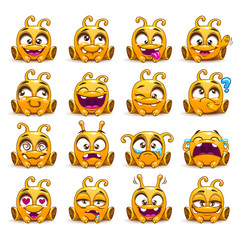 Funny yellow alien character emoticons set