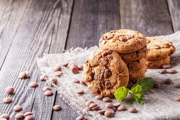 Chocolate chip cookies with mint and chocolate drops.