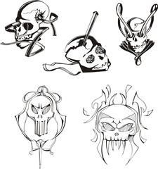 Set of skulls and boneheads