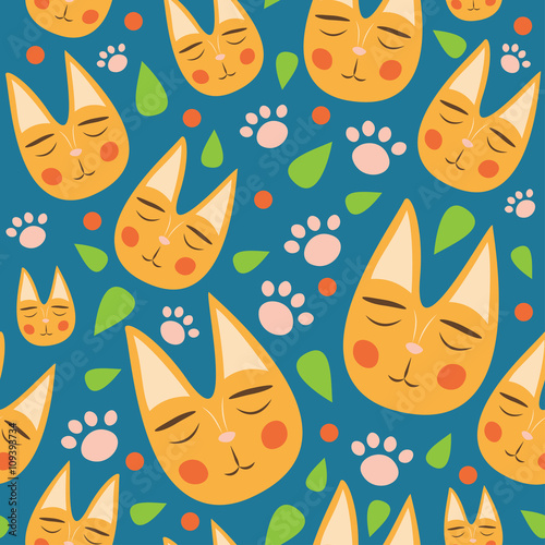 Red Cats Seamless Pattern For Kids With Leaves And Dots On Blue Background Cute
