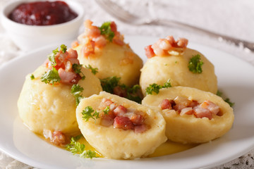 Potato dumplings with bacon, onion and ham close-up and berry sauce. horizontal