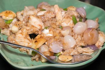 Crab meat fried paprika