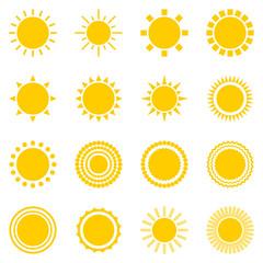 Set of sun icons isolated on white background