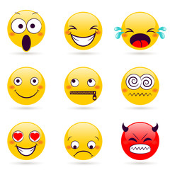 Smile icon. Smiley faces expressing different feelings. Color face icons. Vector illustration