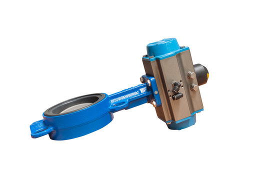 Butterfly valve isolate on white background