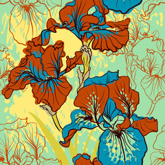 Seamless pattern with decorative  iris flower in retro colors.