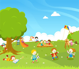 Kids Playing At Park Illustration