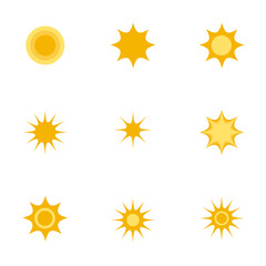 Icons with flat design elements of sun