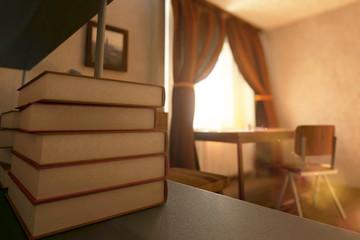 Book stack closeup