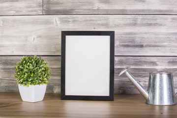 Blank frame and plant