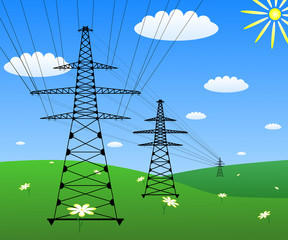 Power line on a green field. Vector EPS10