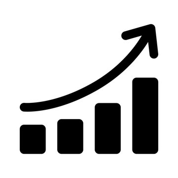 Growth chart / graph curve flat icon for apps and websites