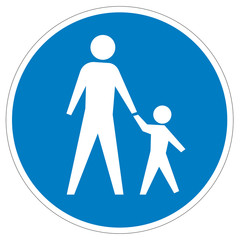 Austrian sign at a pedestrian lane depicting father and child.