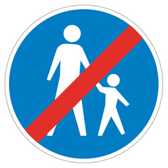 Austrian sign at the of of a pedestrian lane depicting father and child.
